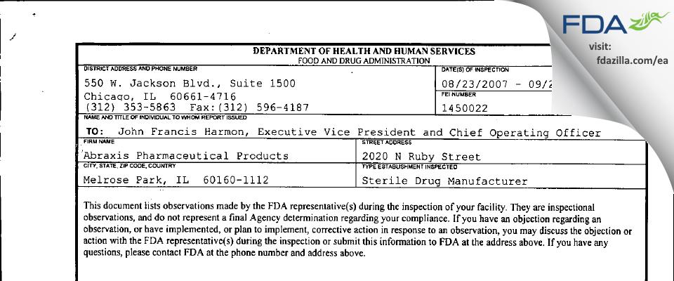Fresenius Kabi USA FDA inspection 483 Sep 2007