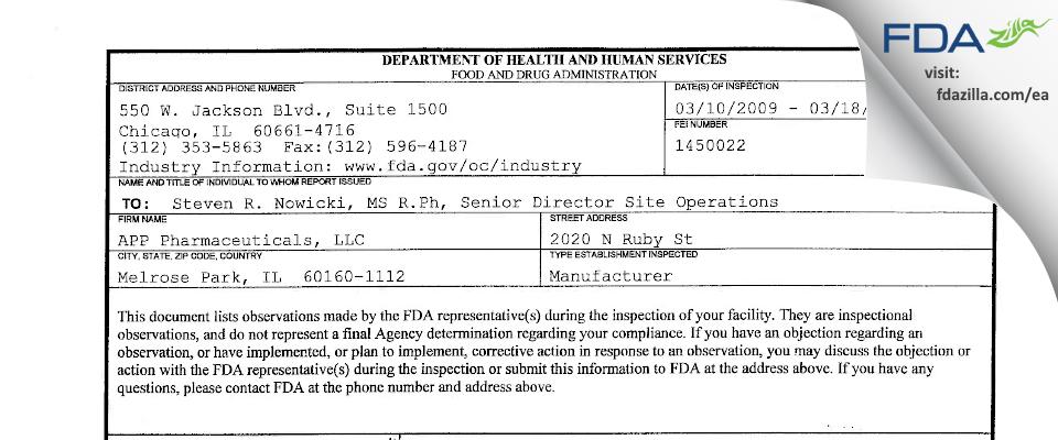 Fresenius Kabi USA FDA inspection 483 Mar 2011
