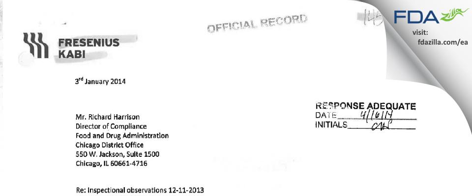 Fresenius Kabi USA FDA inspection 483 Dec 2013