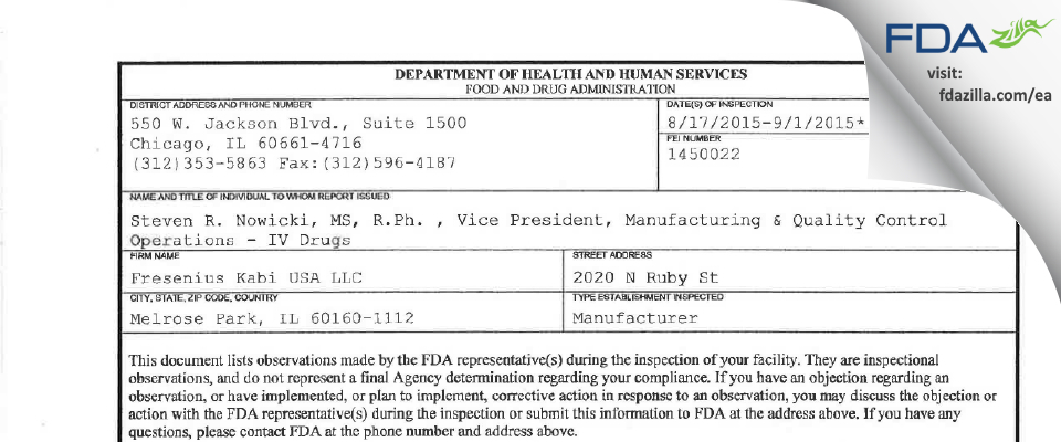 Fresenius Kabi USA FDA inspection 483 Sep 2015