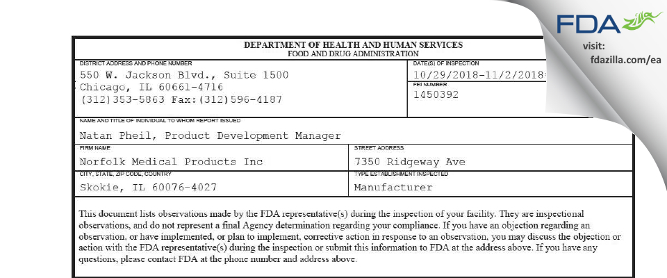 Norfolk Medical Products FDA inspection 483 Nov 2018