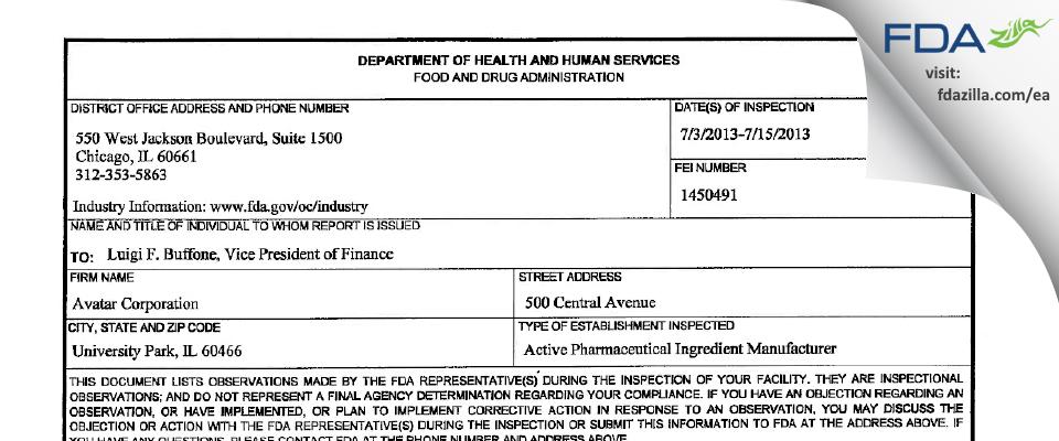 Avatar FDA inspection 483 Jul 2013