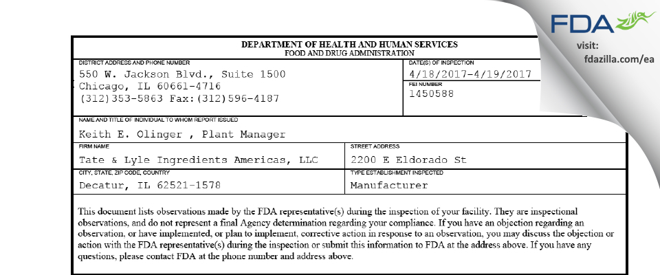 Tate & Lyle Ingredients Americas FDA inspection 483 Apr 2017