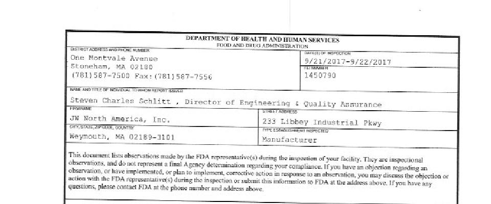 JW North America FDA inspection 483 Sep 2017