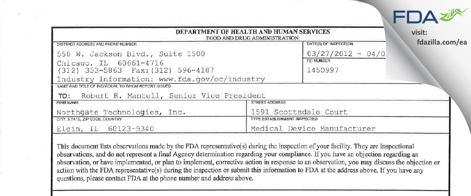 Northgate Technologies FDA inspection 483 Apr 2012