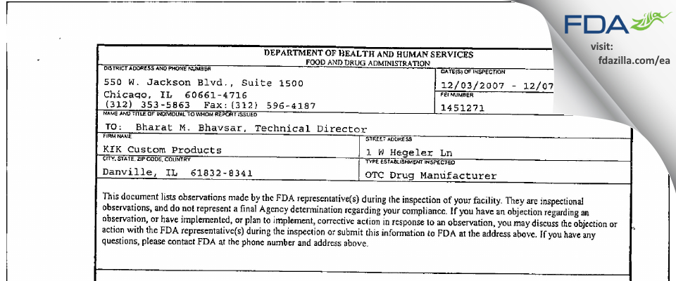 KIK Custom Products FDA inspection 483 Dec 2007