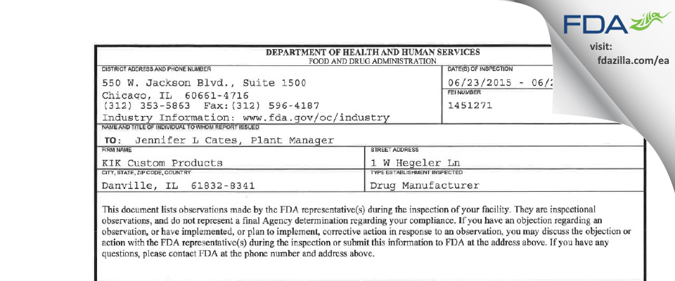 KIK Custom Products FDA inspection 483 Jun 2015