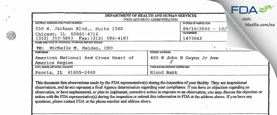 American Red Cross Blood Services Heart of America Region FDA inspection 483 Oct 2008