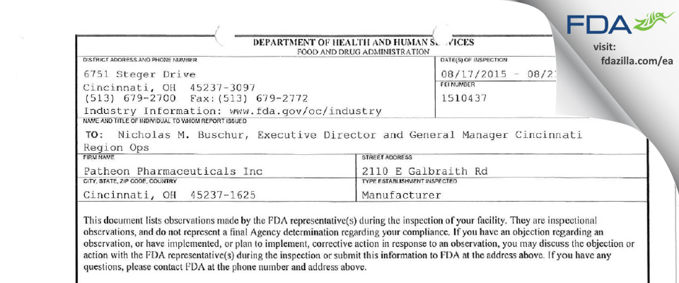 Patheon Pharmaceuticals FDA inspection 483 Aug 2015