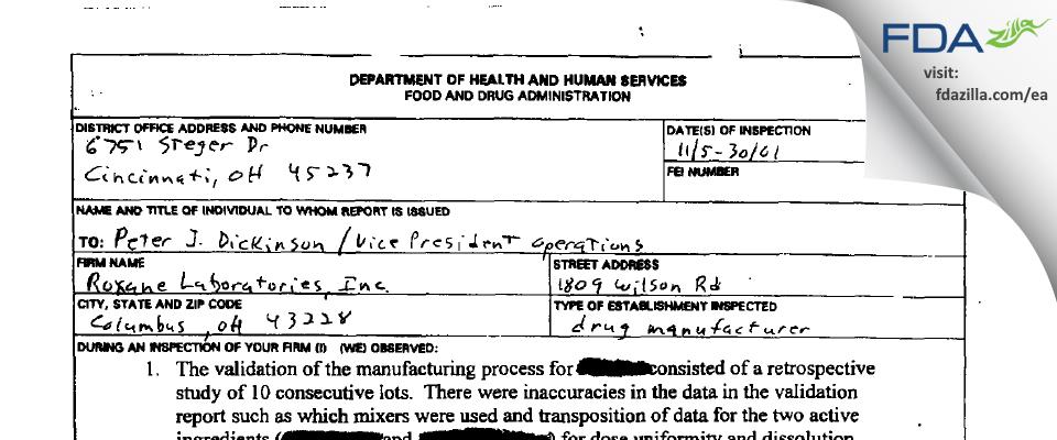 Hikma FDA inspection 483 Nov 2001