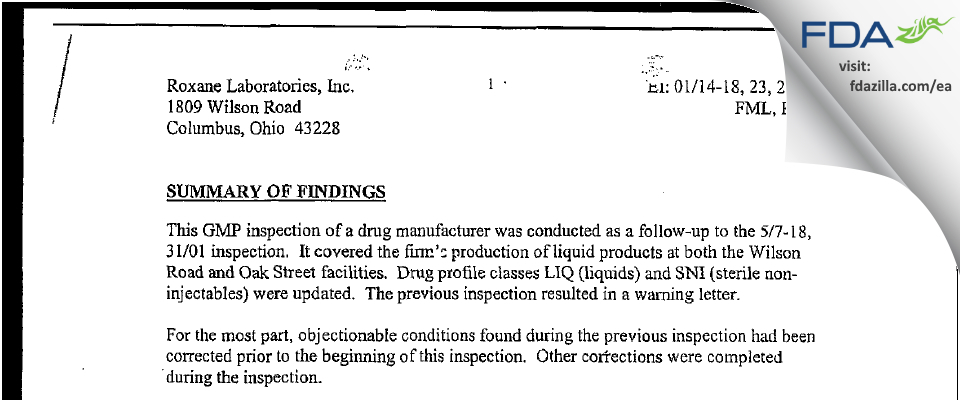 Hikma FDA inspection 483 Jan 2002
