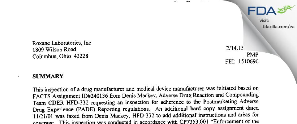 Hikma FDA inspection 483 Feb 2002