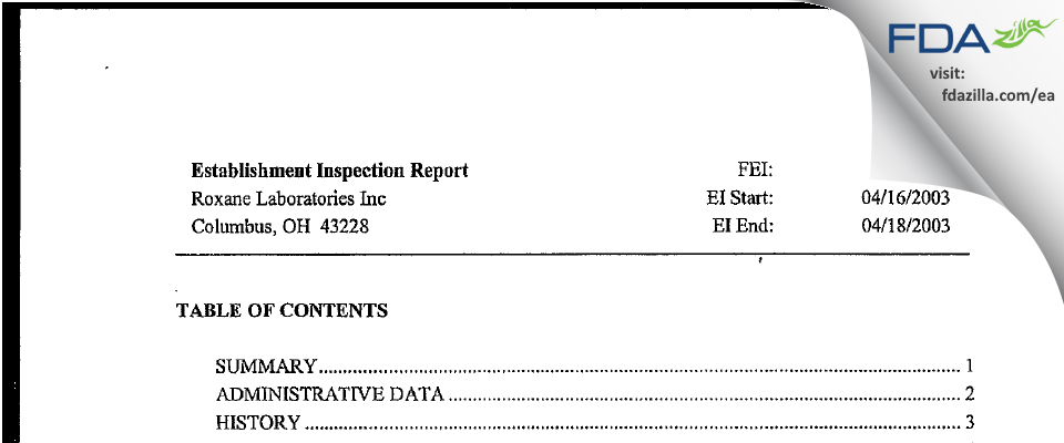 Hikma FDA inspection 483 Apr 2003