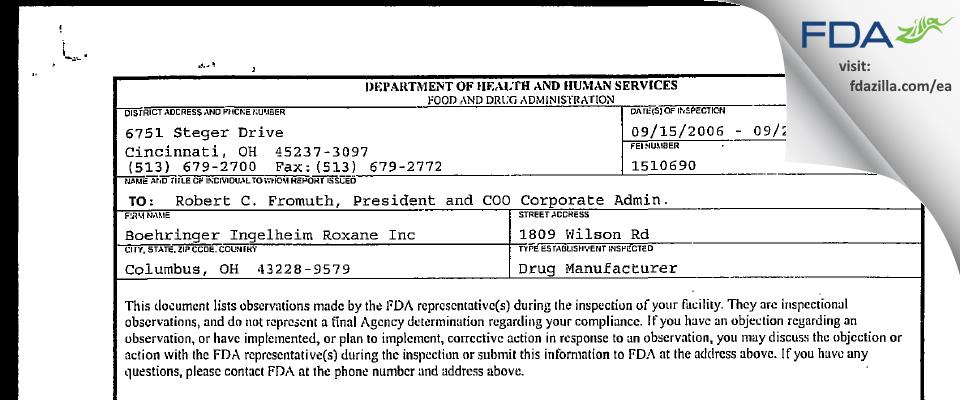 Hikma FDA inspection 483 Sep 2006