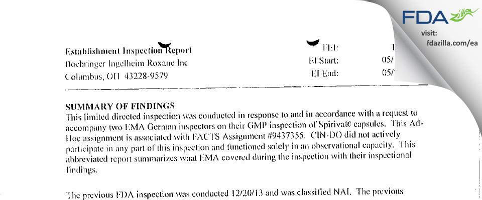 Hikma FDA inspection 483 May 2014