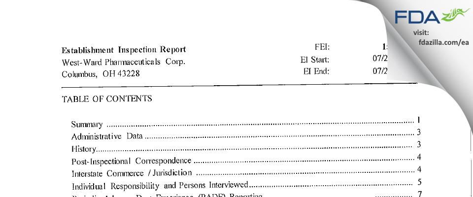 Hikma FDA inspection 483 Jul 2016