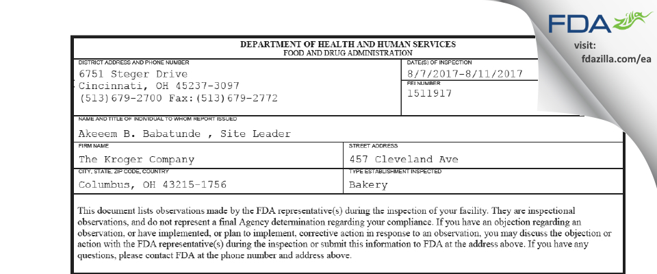 The Kroger Company FDA inspection 483 Aug 2017