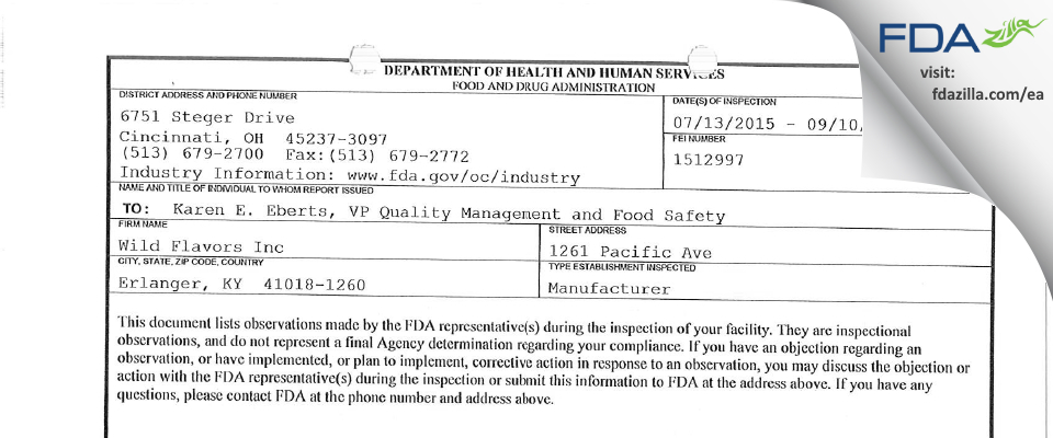 Wild Flavors FDA inspection 483 Sep 2015