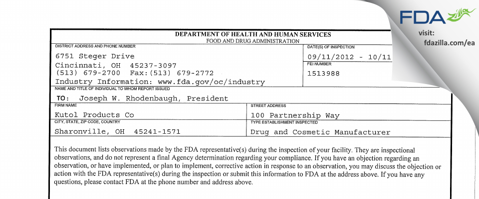 Kutol Products Co FDA inspection 483 Oct 2012