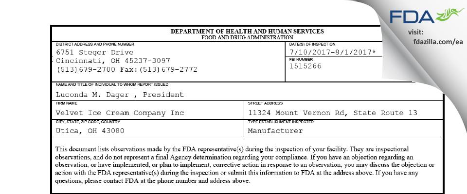 Velvet Ice Cream Company FDA inspection 483 Aug 2017