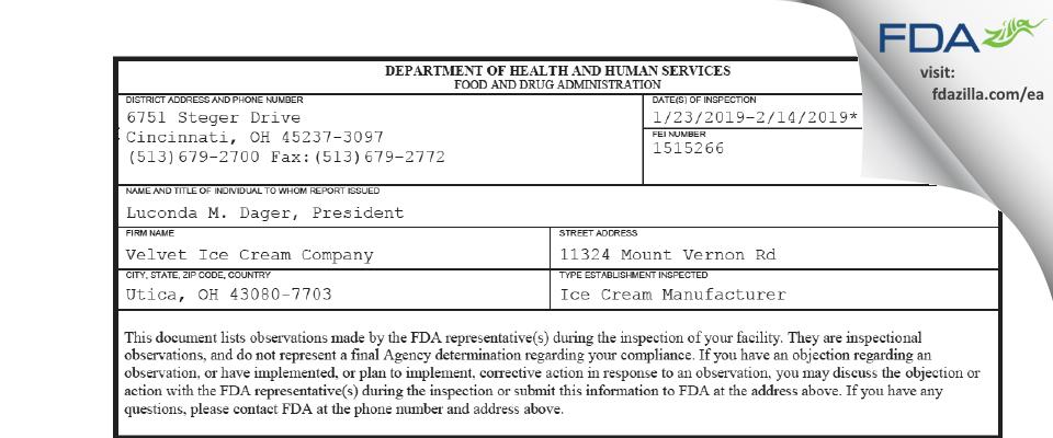 Velvet Ice Cream Company FDA inspection 483 Feb 2019