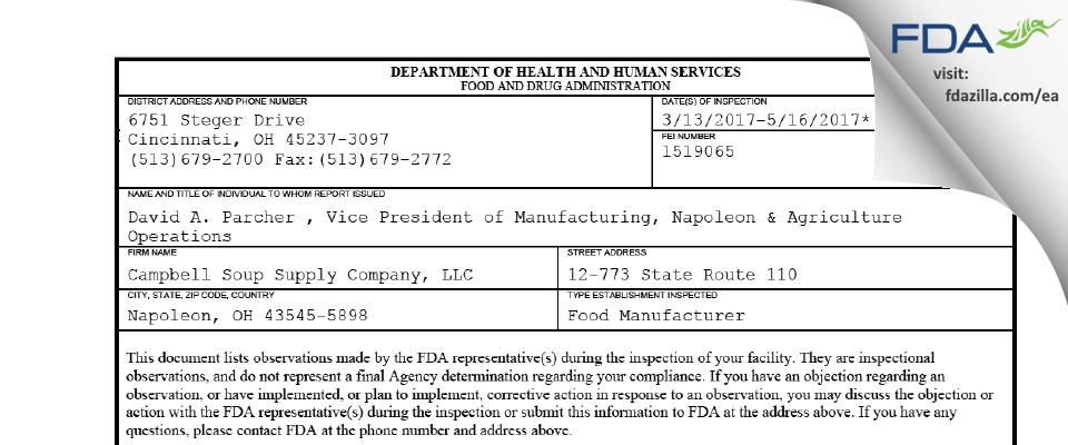 Campbell Soup Supply Company FDA inspection 483 May 2017