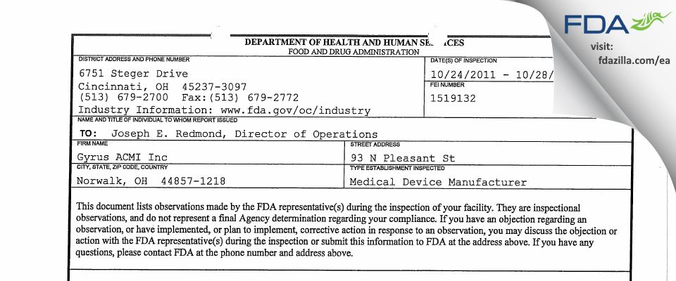 Gyrus ACMI FDA inspection 483 Oct 2011