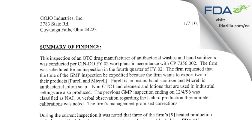 GOJO Industries FDA inspection 483 Jan 2002