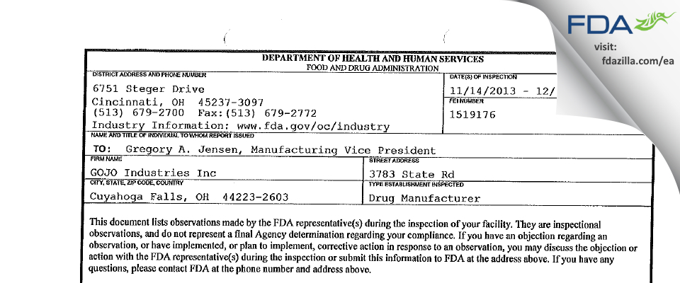 GOJO Industries FDA inspection 483 Dec 2013