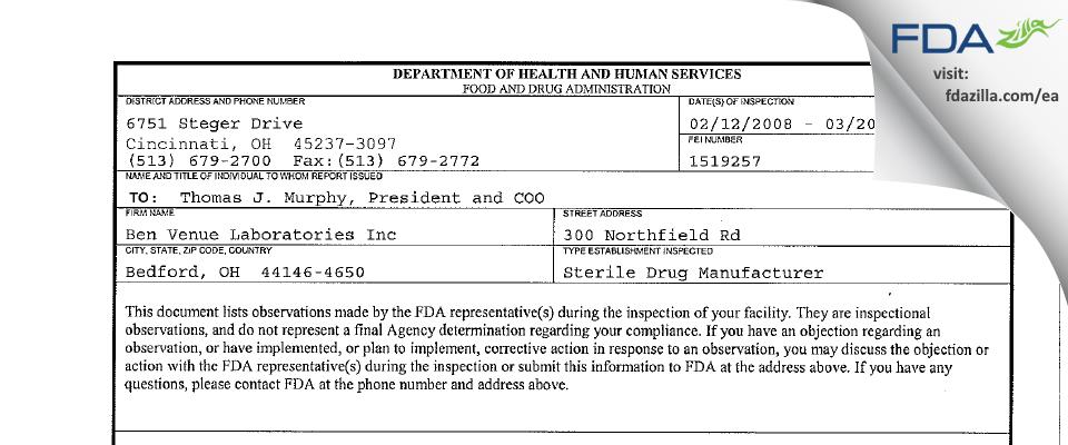 Ben Venue Labs FDA inspection 483 Mar 2008