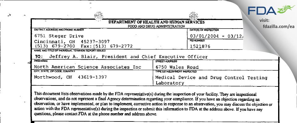 North American Science Associates FDA inspection 483 Mar 2004