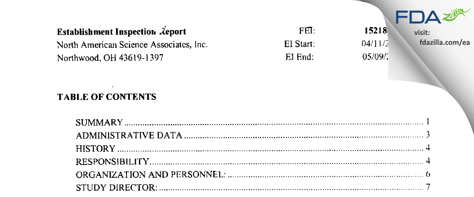 North American Science Associates FDA inspection 483 May 2005