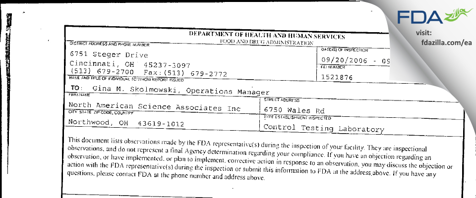 North American Science Associates FDA inspection 483 Sep 2006