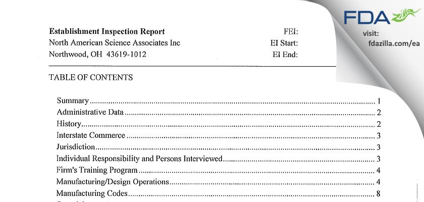 North American Science Associates FDA inspection 483 Dec 2011