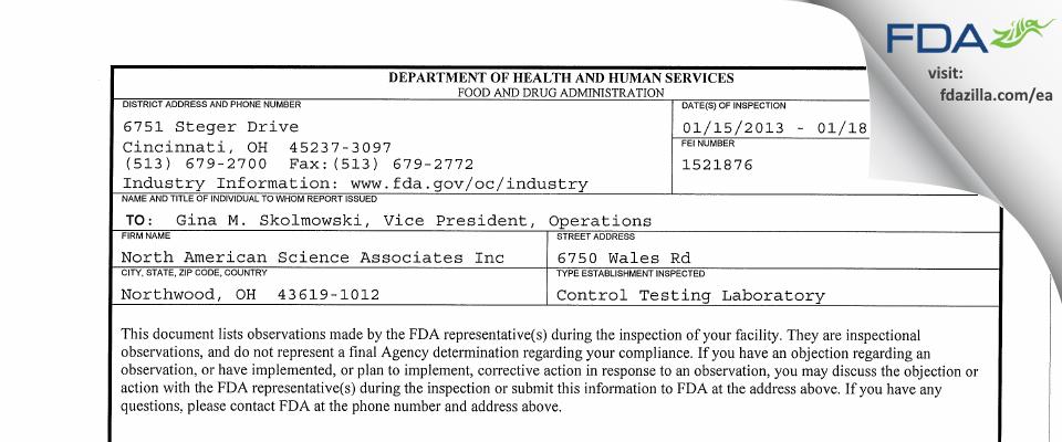 North American Science Associates FDA inspection 483 Jan 2013