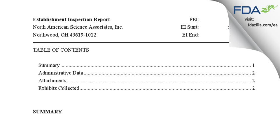 North American Science Associates FDA inspection 483 Oct 2015