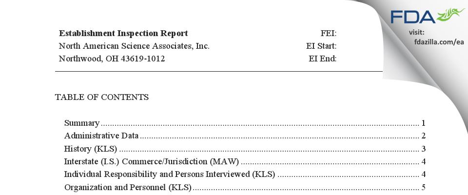 North American Science Associates FDA inspection 483 Aug 2018