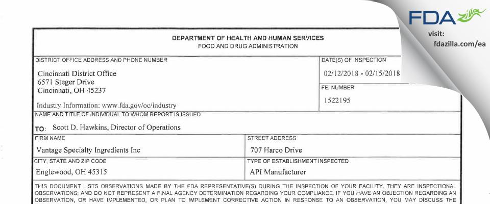 Vantage Specialty Ingredients FDA inspection 483 Feb 2018