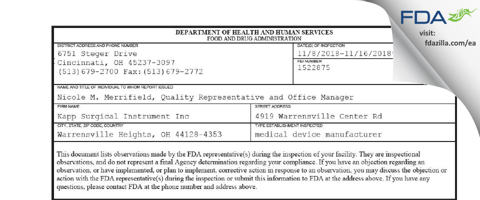 Kapp Surgical Instrument FDA inspection 483 Nov 2018