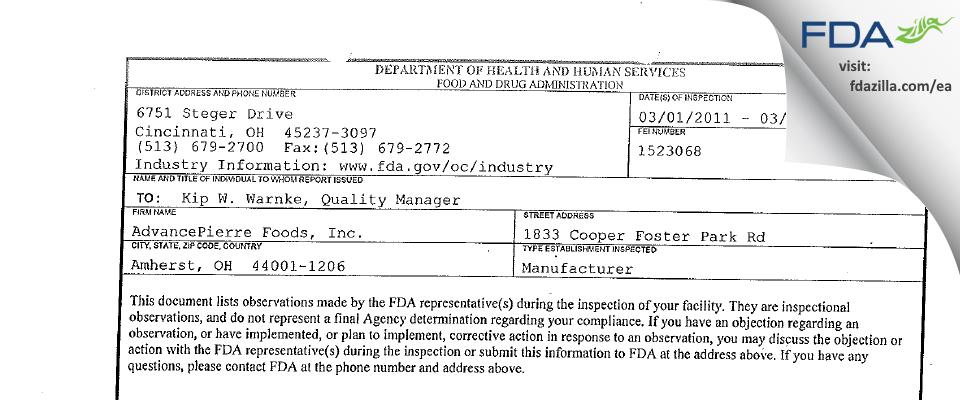AdvancePierre Foods FDA inspection 483 Mar 2011