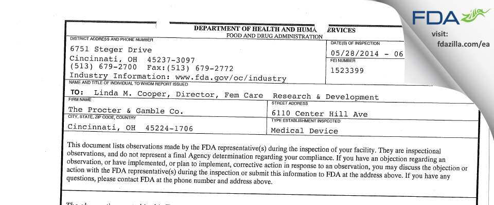The Procter & Gamble FDA inspection 483 Jun 2014