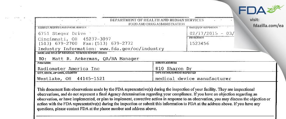 Radiometer America FDA inspection 483 Mar 2015