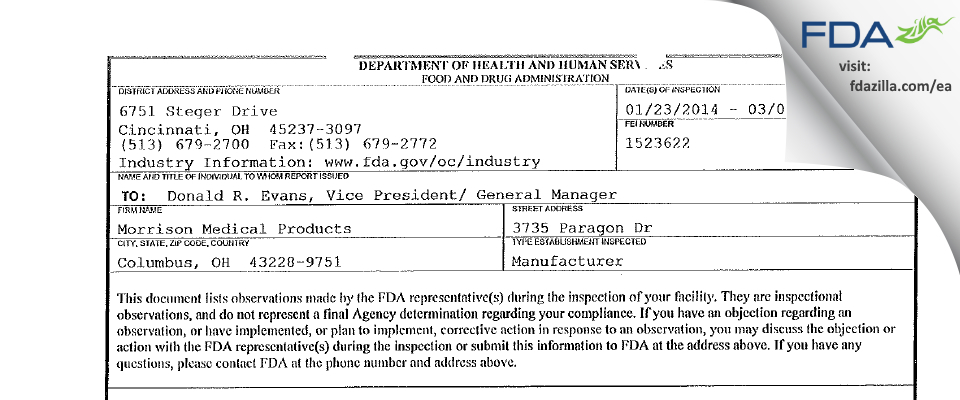 Morrison Medical Products FDA inspection 483 Mar 2014