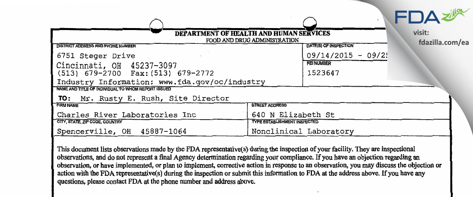 Charles River Labs FDA inspection 483 Sep 2015