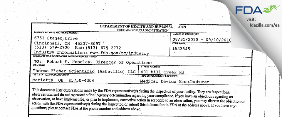 Thermo Fisher Scientific (Asheville) FDA inspection 483 Sep 2010