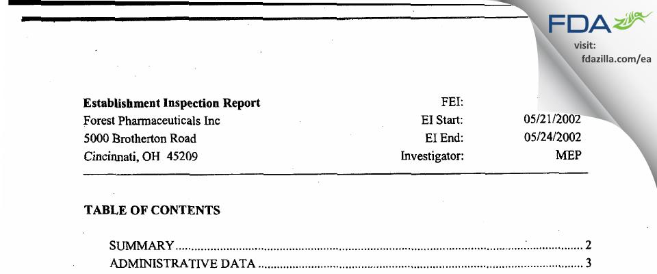 Allergan Sales FDA inspection 483 May 2002