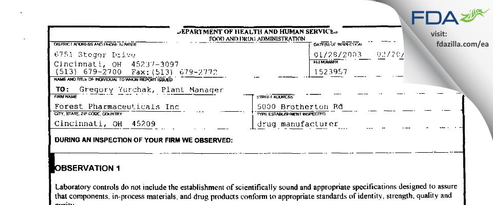 Allergan Sales FDA inspection 483 Feb 2003