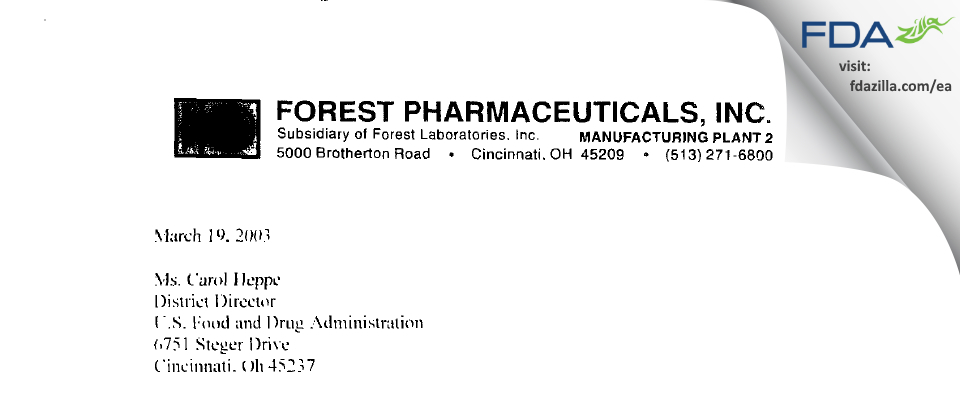 Allergan Sales FDA inspection 483 Feb 2003