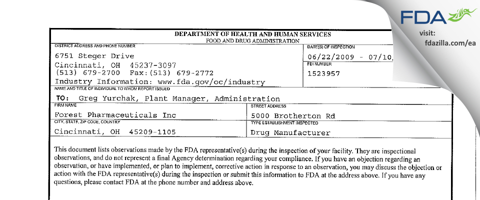 Forest Pharmaceuticals FDA inspection 483 Jul 2009