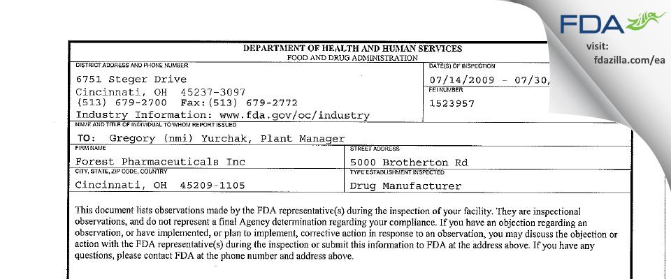 Allergan Sales FDA inspection 483 Jul 2009